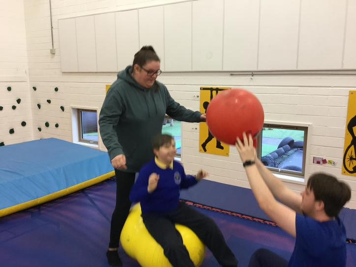 We also use the big trampoline to work on our balance and core strength.