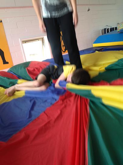 Joe enjoying the sensory bounce session.