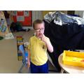 Alex tasting ginger and lemon noodles