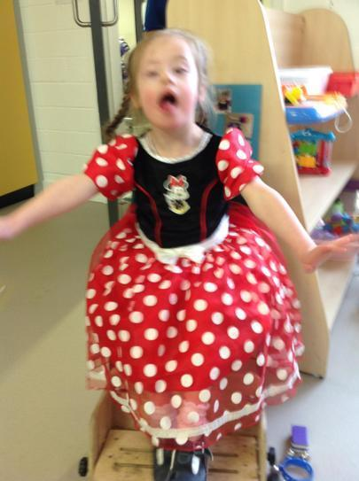 Sian showing off her Minnie mouse outfit