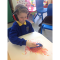 Leo followed instructions to mix paint