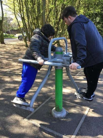 We have been going to local parks and using the gym equipment.