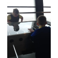 Grace and Callum enjoy the table football