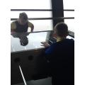 Grace and Callum enjoy the table football