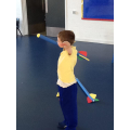 Charlie takes aim with the javelin