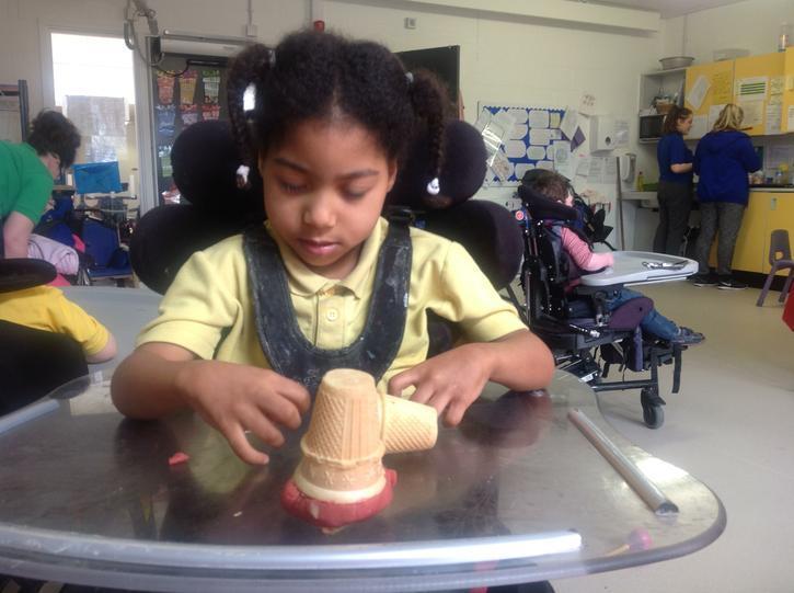 Lois exploring the play dough ice creams