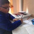 Mustafa write about his pirate whe he coloured it.