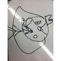 Callum drew the Captain with pants on his head!