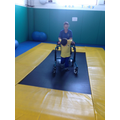 Jack practicing walking over an uneven surface