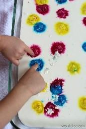 Put splodges of paint on a tray – cover with Clingfilm. press each splodge