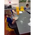 Ellis mixing the ingredients together