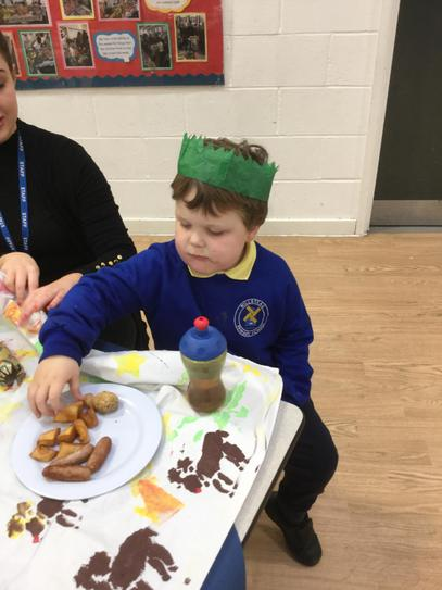 Lewis enjoying his Christmas lunch.