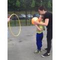 Declan played ball games on the MUGA