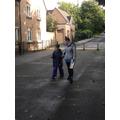 Jury walking back to school after forest school