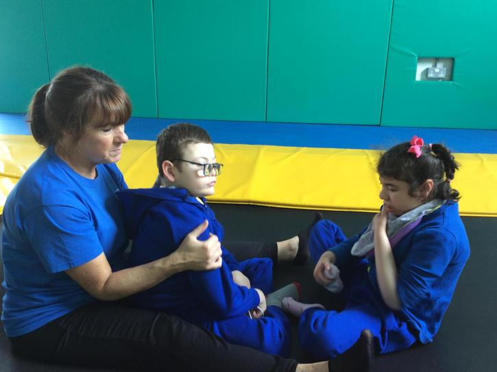 12/5 Sharing time at rebound supported sitting,independenlty sitting
