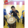 Jaydem enjoying creating a rhythm