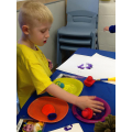 Callum chose which colour to paint with