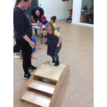 Grace going up the stairs during our MOVE PE circuit