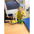 Ruby finding objects in play during literacy