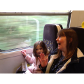 Happy faces on the train