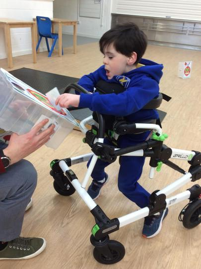 10/2 Brandon independently walked a 7 metres inhis walker stopping,starting when he wanted