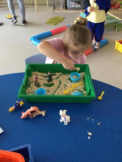 Sensory trays linked to our story.