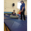 Sian working on her core stregnth in rebound