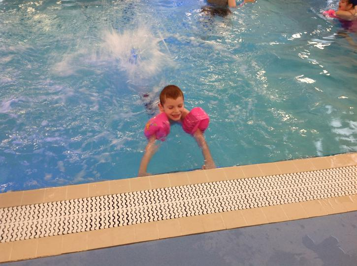 Callum is getting much more confident in the pool!