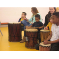 Some of the children during the drumming workshop