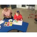 Liliana using fruit to print in a creative session