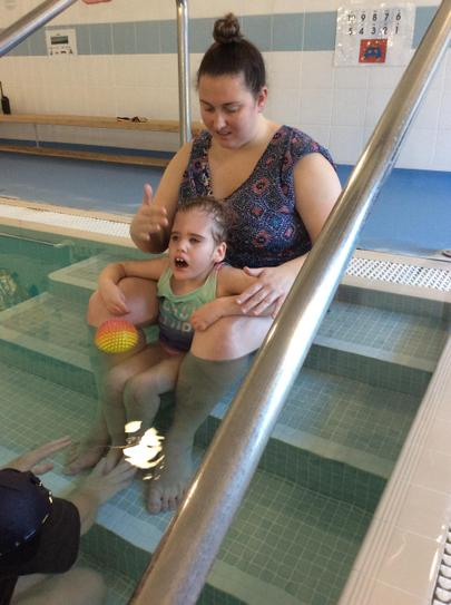 25/1 Laura Jane working on head control while supported sitting in the pool
