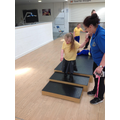 Grace completing the steps during our MOVE PE circuit