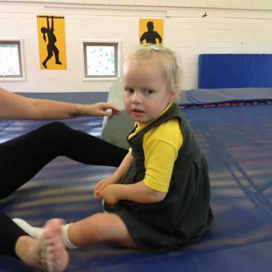 Liliana working on sitting alone during a bounce
