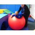 Sange loved having a bounce on the big ball