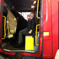 Ellis enjoyed sitting in the big red fire truck.