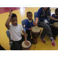 Children copying drum rhythms