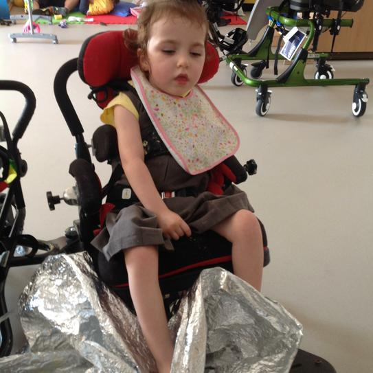 Hallie crunching in the space blanket
