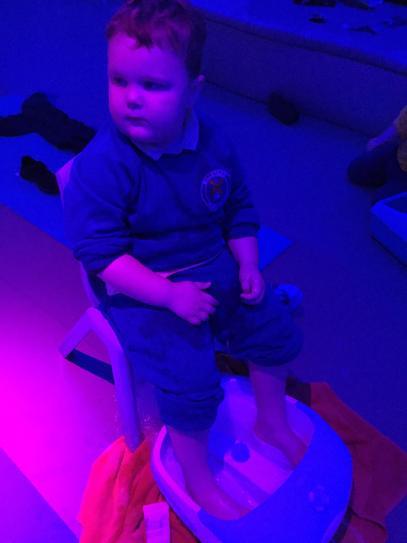 Lewis enjoying the foot spa.