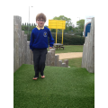 Isaac likes the feel of astroturf on his feet