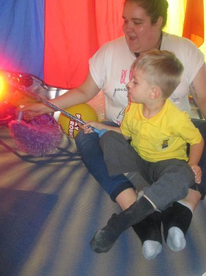 Connor enjoying a sensory bounce