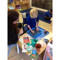 Theo loved exploring the water beads with Zoe.
