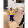 Callum going up the stairs in our MOVE PE circuit