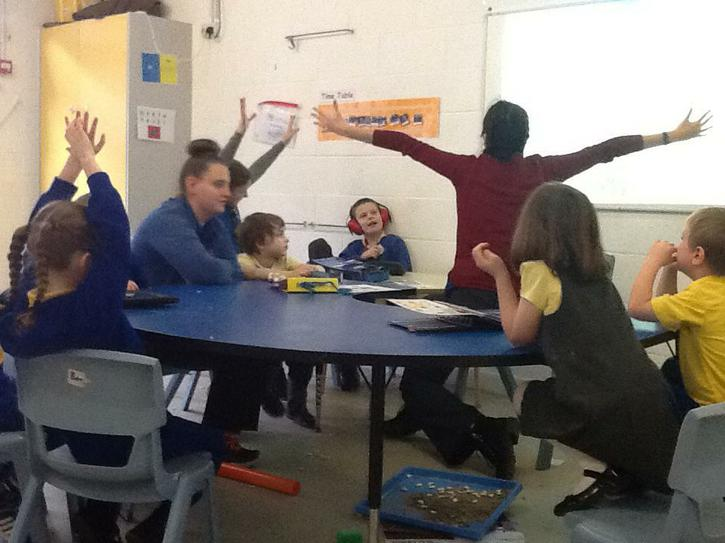Acting out parts of the story.