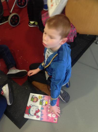 Callum enjoyed Hello Kitty book
