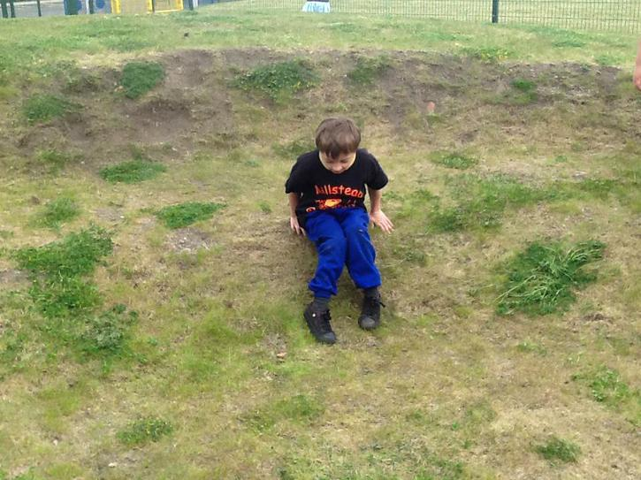 Going down the hill at playtime