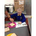 Reading instructions to complete a task in cookery
