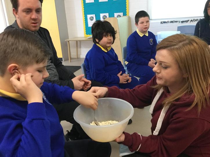 We all love exploring and mixing the porridge oats.