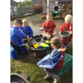 Mud kitchen making