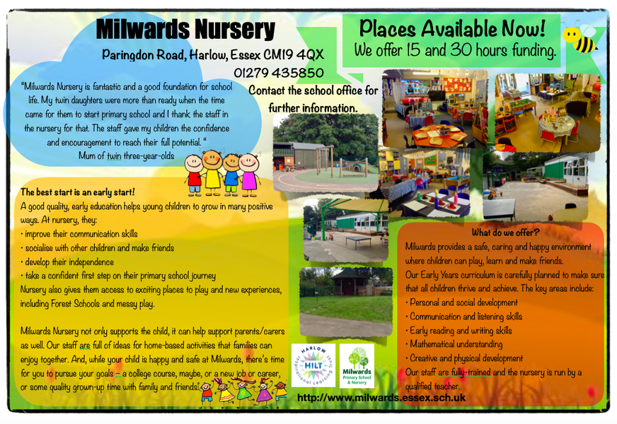 Nursery and Reception places currently available.