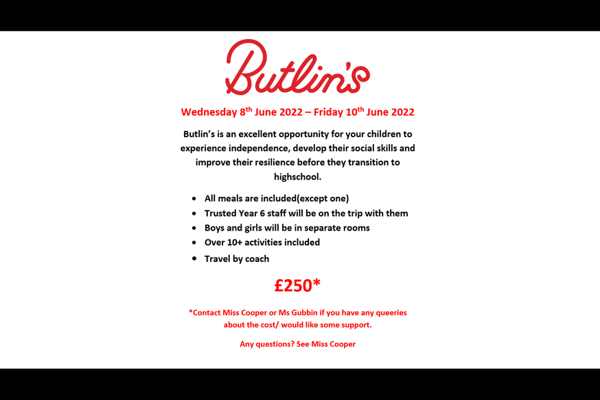 Leaflet with information about Butlin's